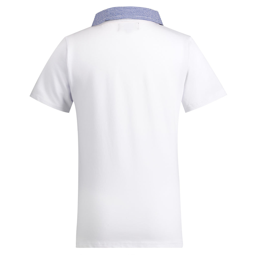 White with Gingham Collar Polo - Andy & Evan