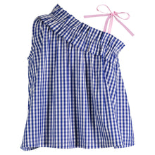 Load image into Gallery viewer, Blue Gingham Ruffle Tank - Andy & Evan