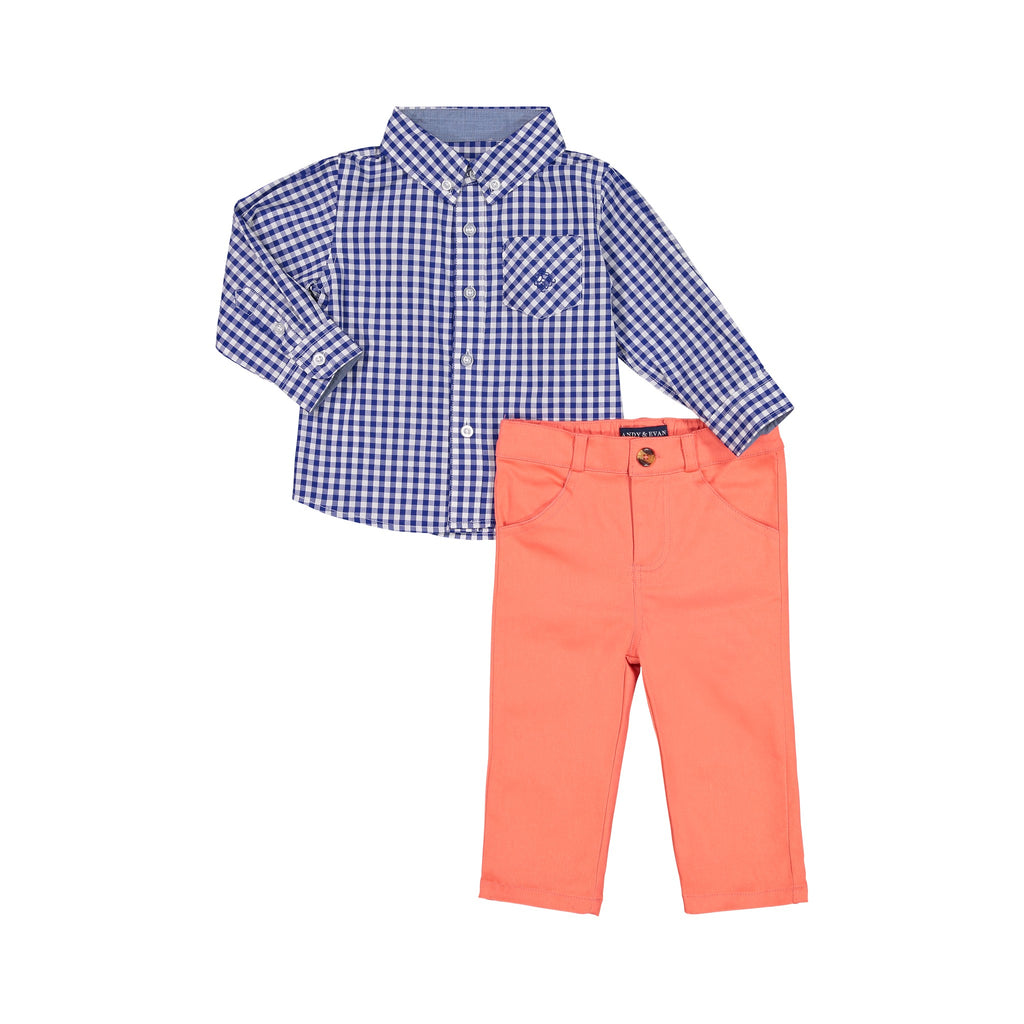 Two-Peice Gingham Shirt Set - Andy & Evan