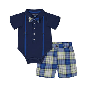 Blue Polo & Plaid Short Set - Andy & Evan