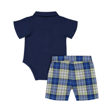 Load image into Gallery viewer, Blue Polo & Plaid Short Set - Andy & Evan