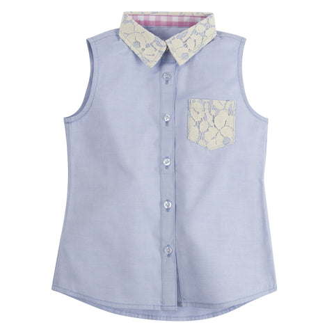 Blue Chambray with Lace Sleeveless Shirt