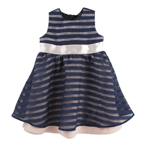 Sassy Stripe: Navy Stripe Organza Party Dress