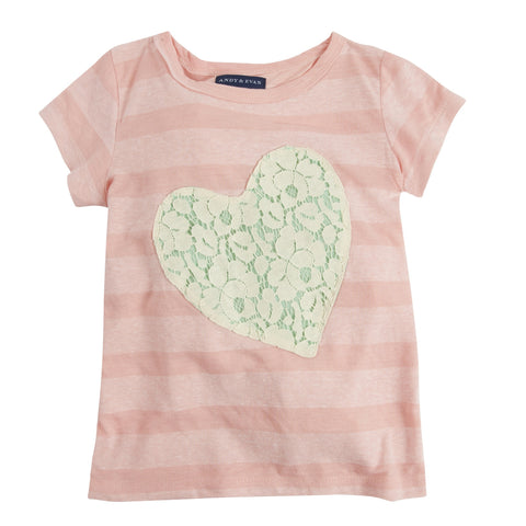 One Love: Pink Stripe Lace Applique Heart Tee