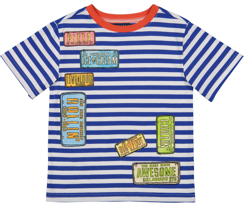 Striped License Plate Tee - Andy & Evan