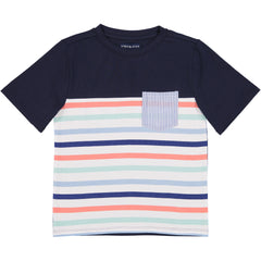 Navy/Coral/Mint Stripe Pocket Tee
