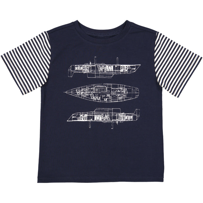 Blueprint Sailboat Tee - Andy & Evan