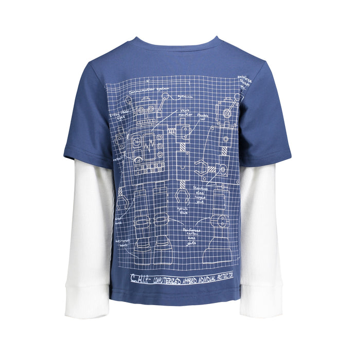 Blue Robot Twofer Tee - Andy & Evan