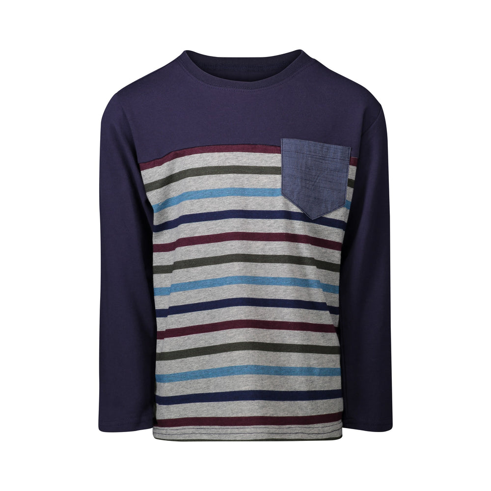 Navy Color-blocked Stripe Pocket Tee - Andy & Evan