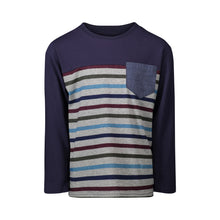 Load image into Gallery viewer, Navy Color-blocked Stripe Pocket Tee - Andy & Evan