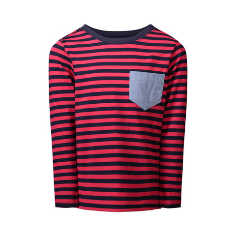 Red & Blue Striped Pocket Tee