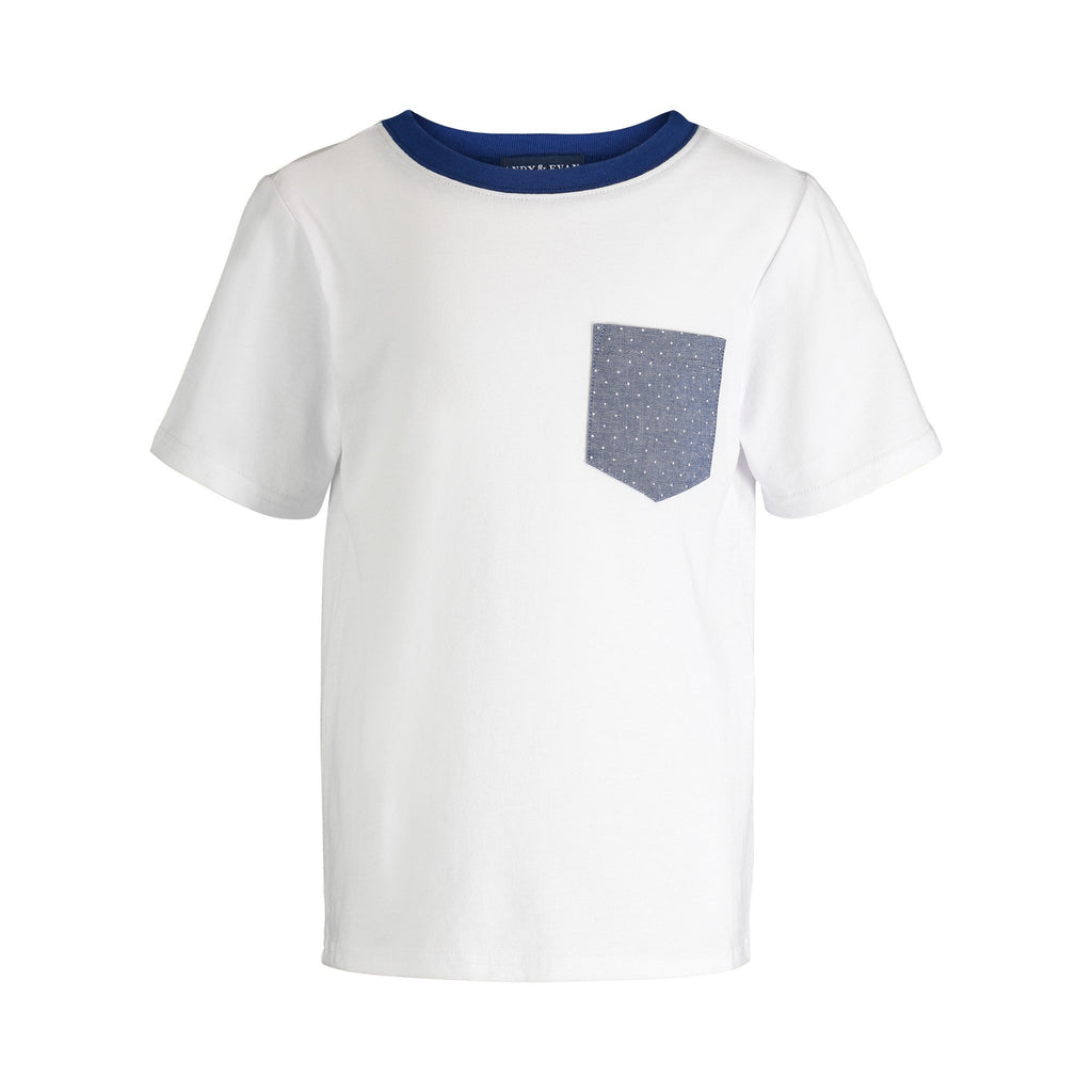 White with Dot Pocket Tee - Andy & Evan