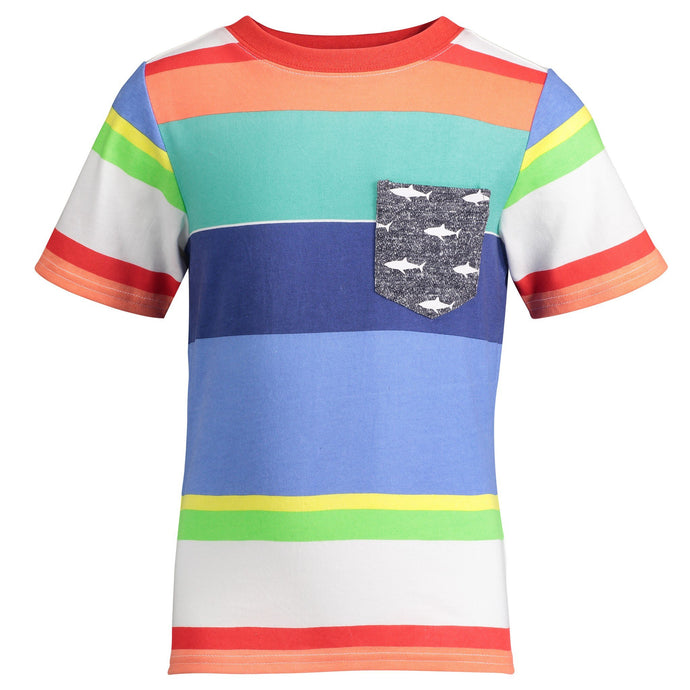Bold Multi Stripe Pocket Tee - Andy & Evan