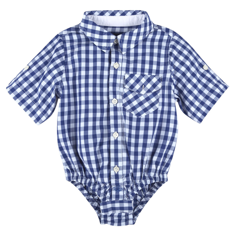 Blue Gingham Bamboo Short Sleeve Button-down Shirt - Andy & Evan