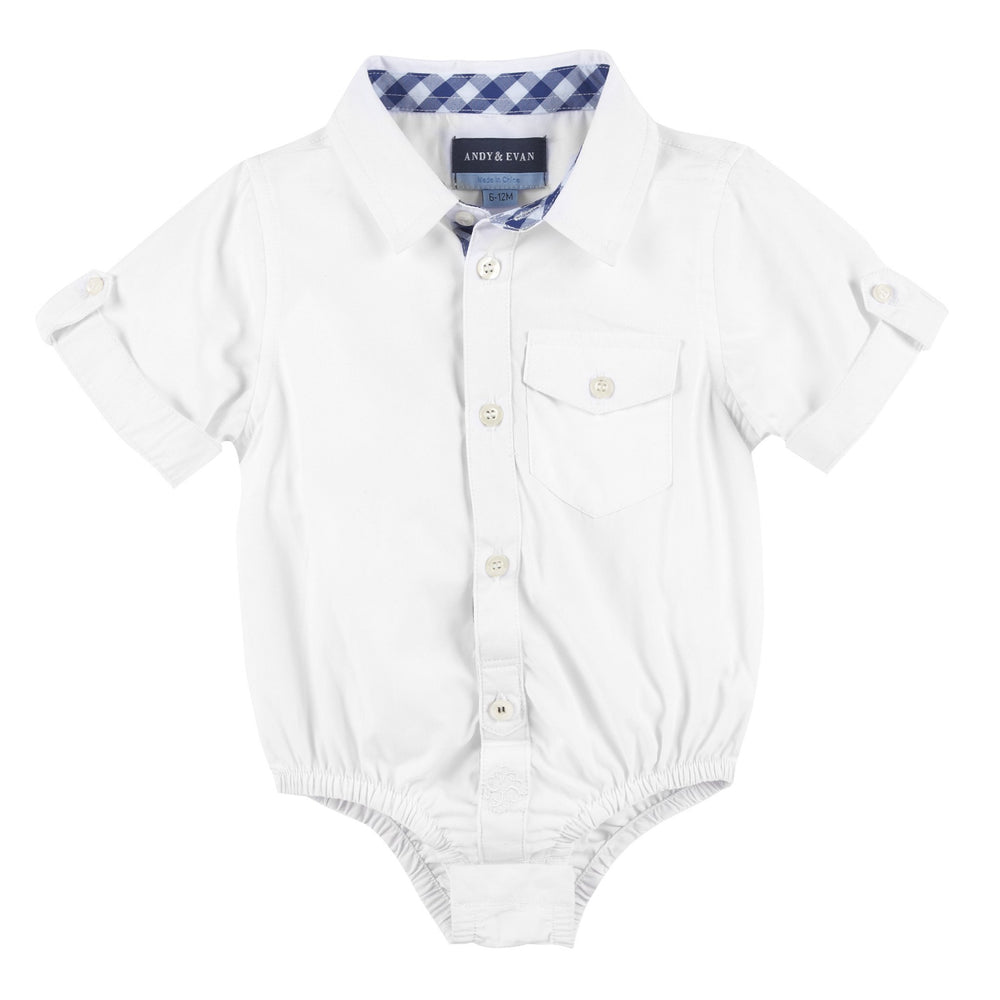 White Bamboo Short Sleeve Button-down Shirt - Andy & Evan