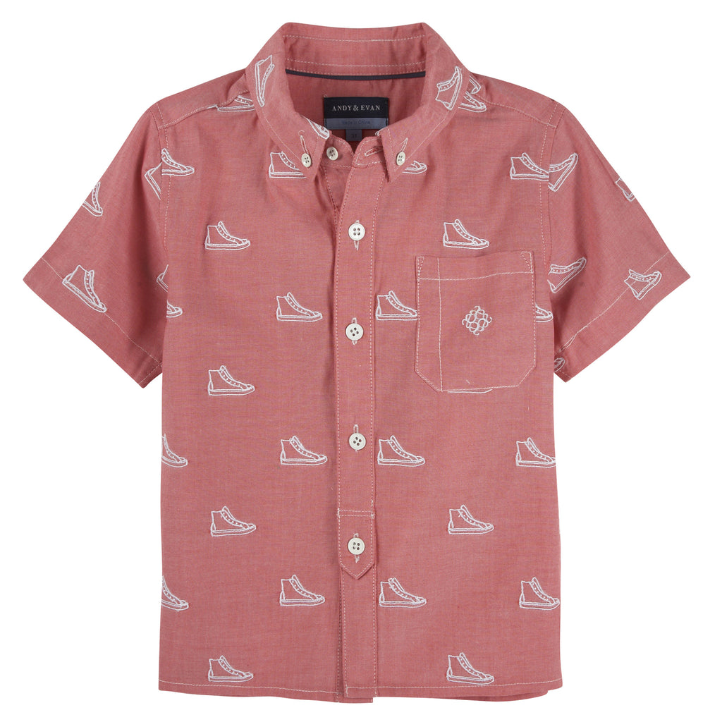 Sneaker Schiffli Short Sleeve Button-down Shirt - Andy & Evan