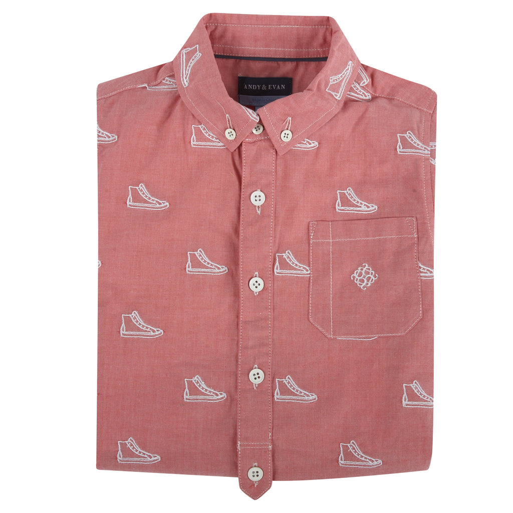 Sneaker Schiffli S/S Button-Down Shirt - Andy & Evan