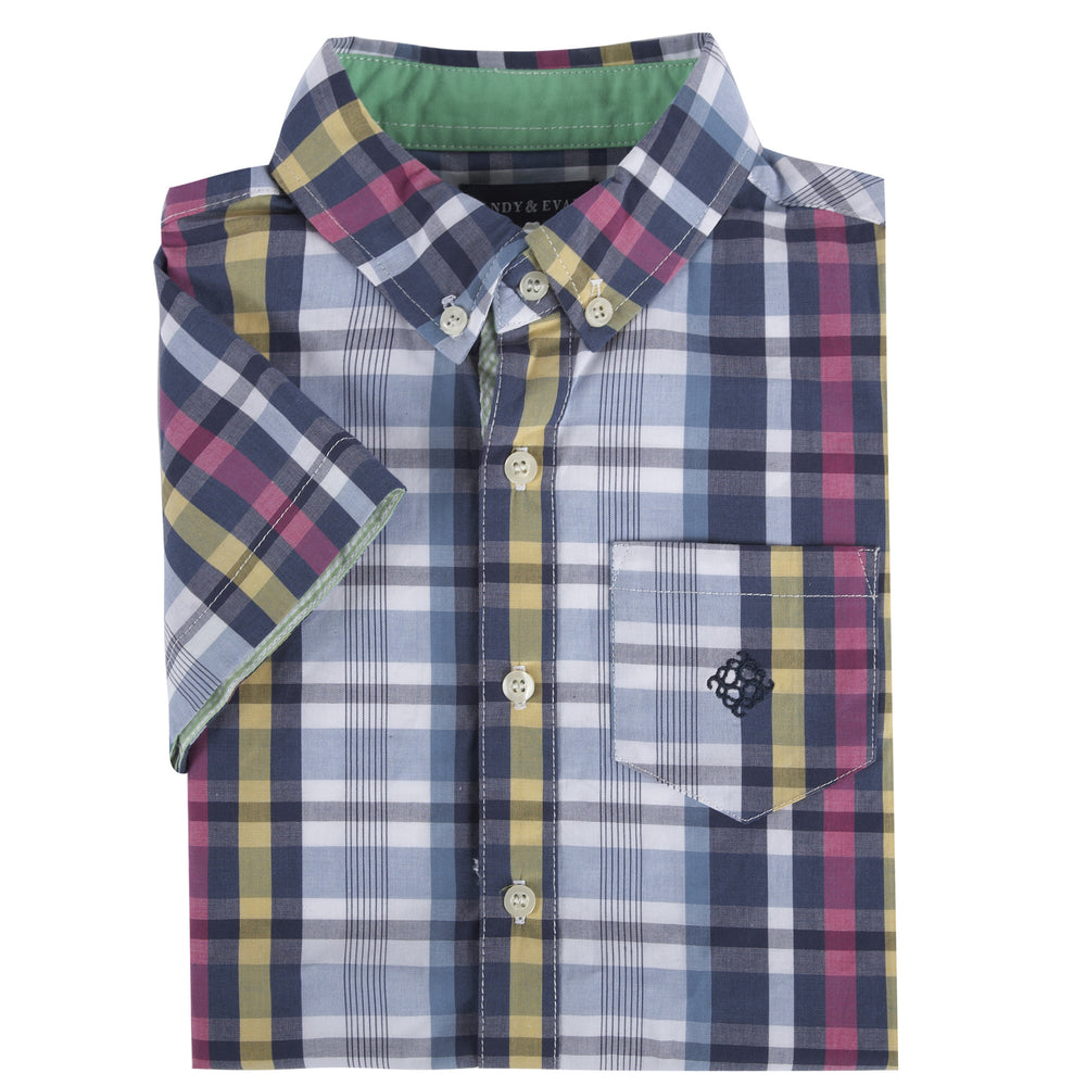 Blue & Pink Madras Short Sleeve Button-down Shirt - Andy & Evan