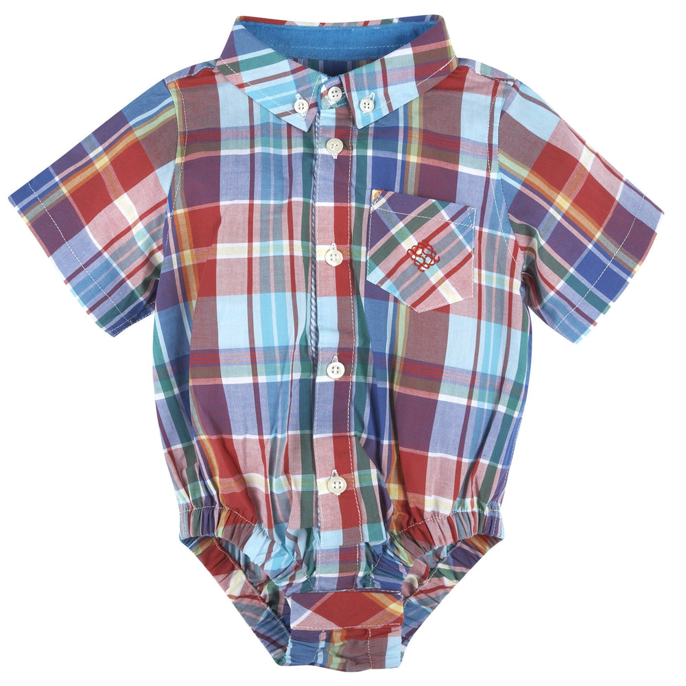 Red & Teal Madras Short Sleeve Button-down Shirt - Andy & Evan
