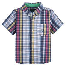 Load image into Gallery viewer, Blue & Pink Madras Short Sleeve Button-down Shirt - Andy & Evan