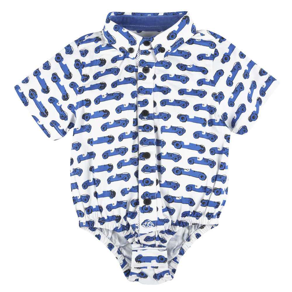 Race Car Printed Short Sleeve Button-down Shirt - Andy & Evan