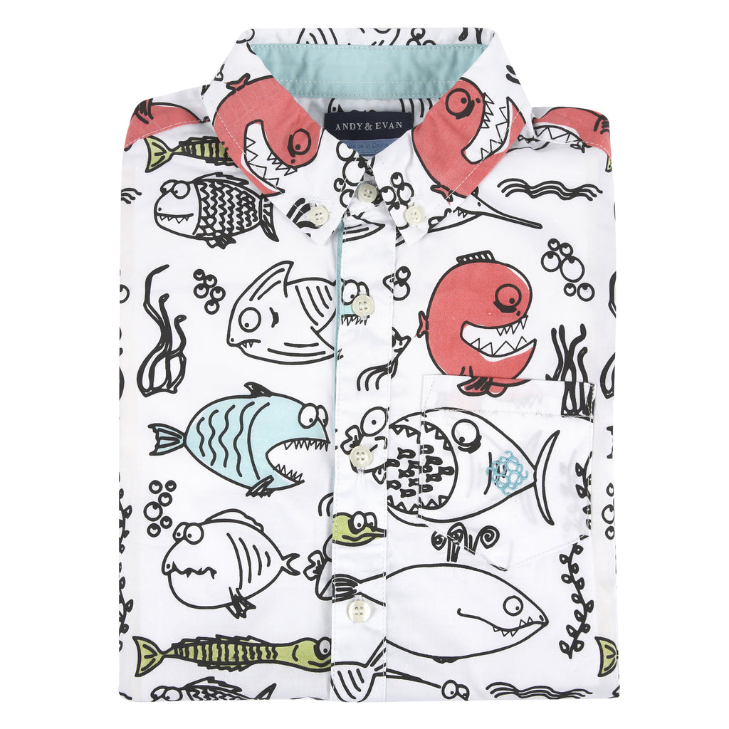 Fish Print Short Sleeve Button-down Shirt - Andy & Evan