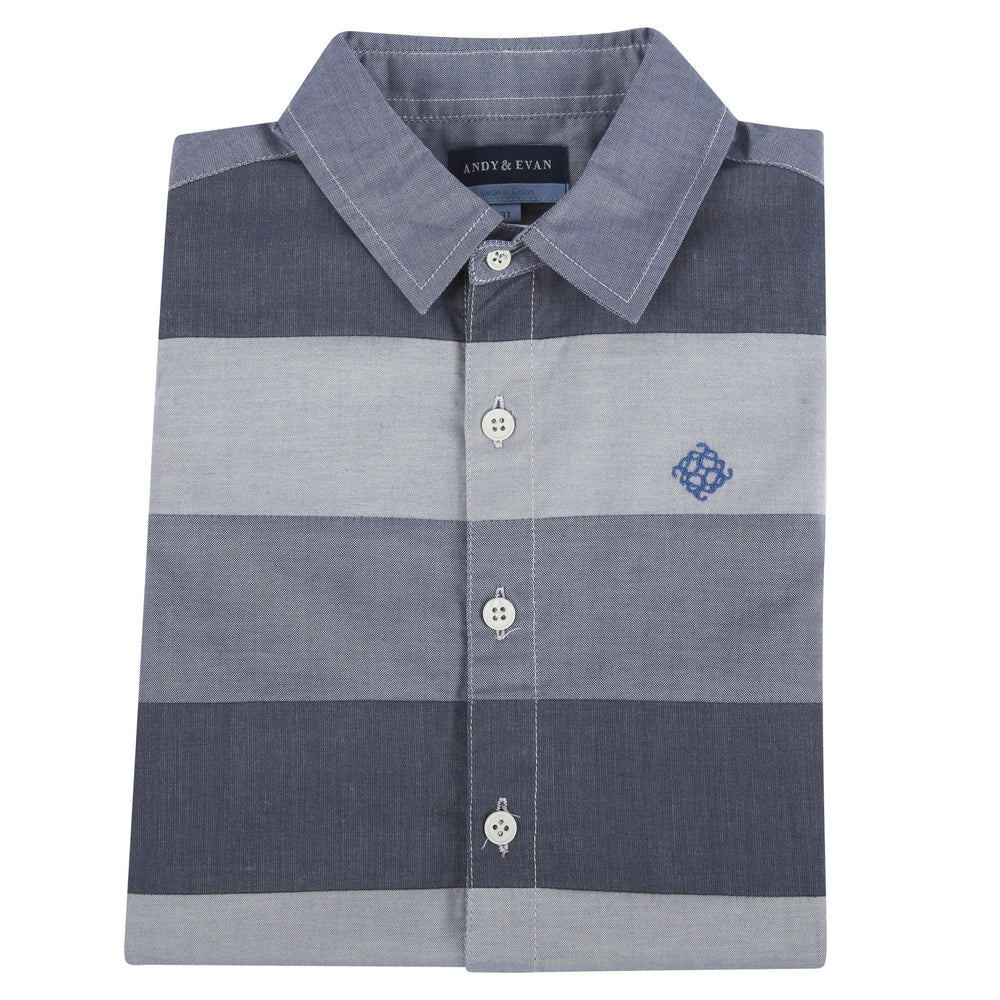 Blue Color-blocked Short Sleeve Button-down Shirt - Andy & Evan
