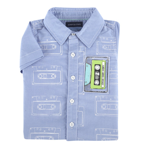 Cassette Tape Print S/S Button-Down Shirt