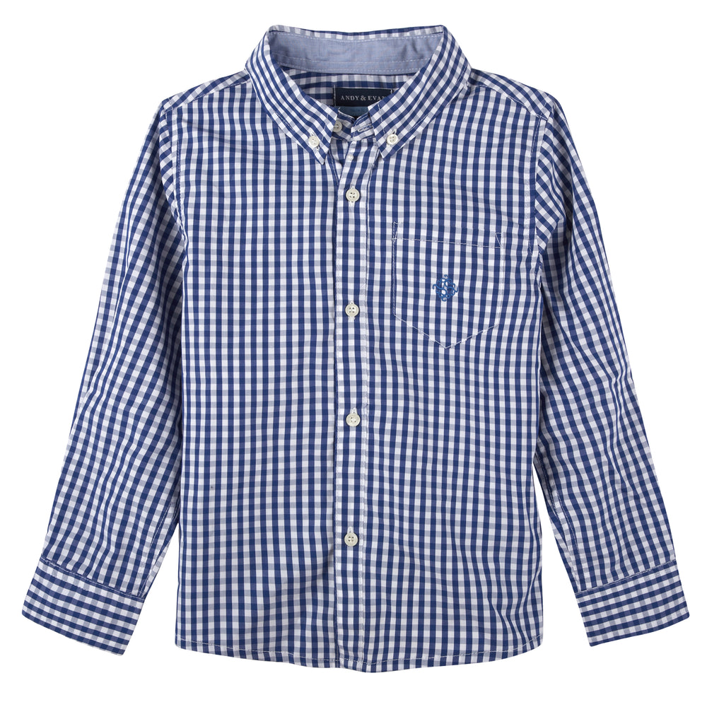 Blue Gingham Buttondown - Andy & Evan