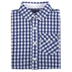 Blue Gingham Long Sleeve Button-down Shirt