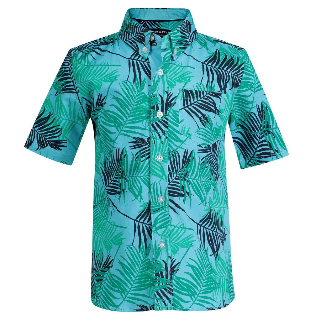 Teal Large Palm Print Short Sleeve Button-down - Andy & Evan