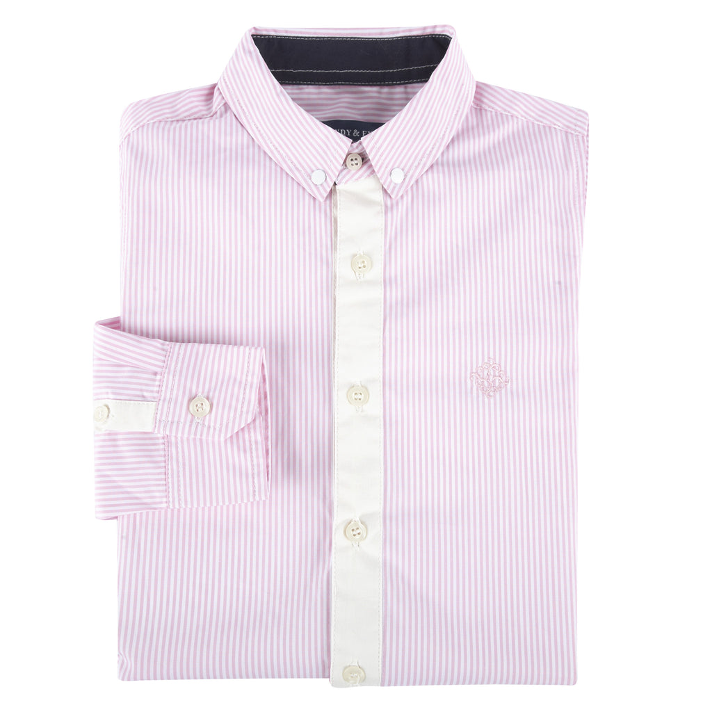 Pink Bengal Stripe Long Sleeve Button-down Shirt - Andy & Evan