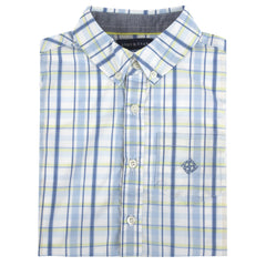 Multi Blue&Lime Plaid LongSleeve Button-down Shirt