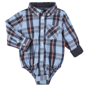 Blue, Navy & Coral Plaid LongSleeve Button-down Shirt - Andy & Evan