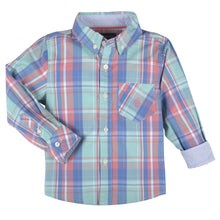 Load image into Gallery viewer, Mint,Coral,Blue Plaid LongSleeve Button-down Shirt - Andy & Evan