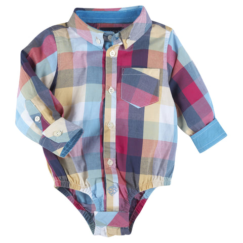 Multi Color Big Check LongSleeve Button-down Shirt