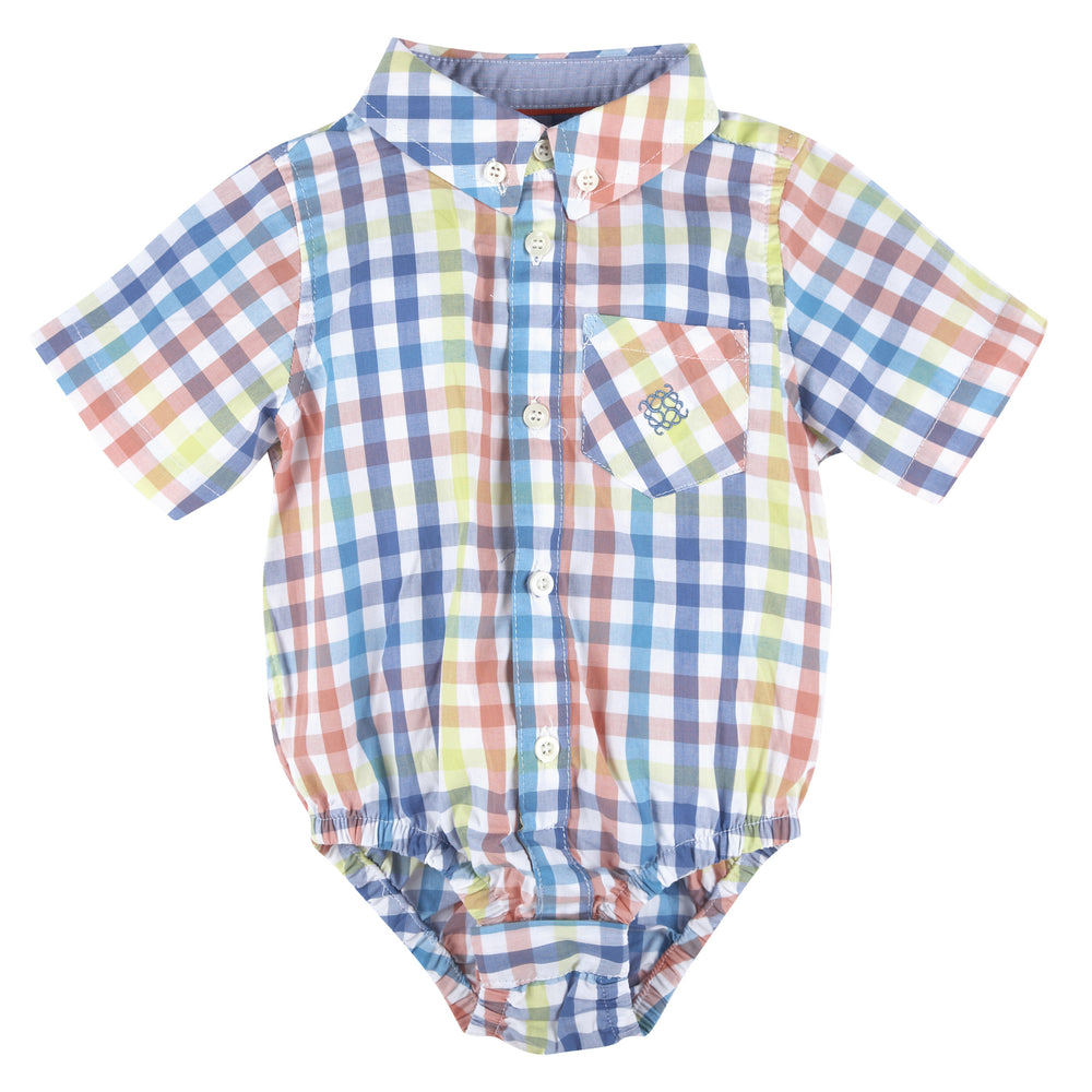 Multi Gingham Short Sleeve Button-down Shirt - Andy & Evan