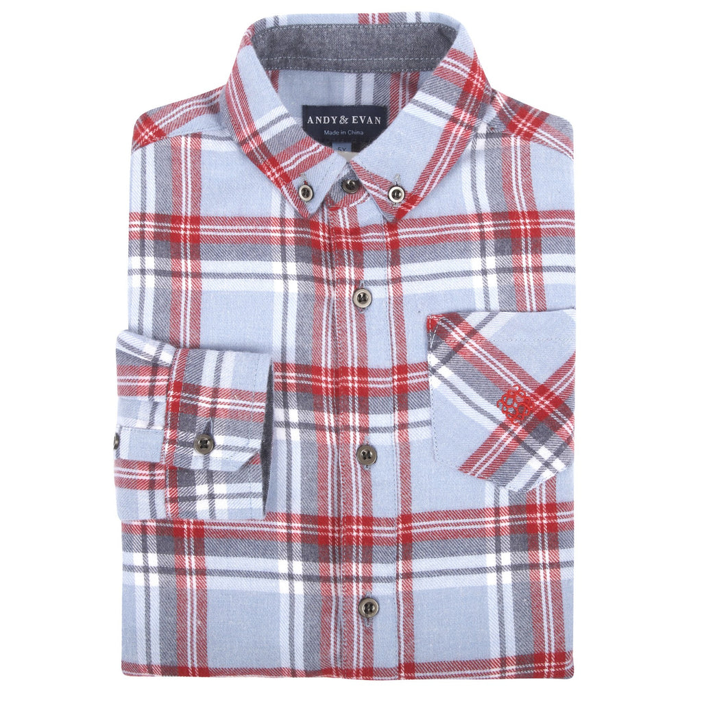 Infant Boy Light Blue Plaid Flannel Shirt - Andy & Evan