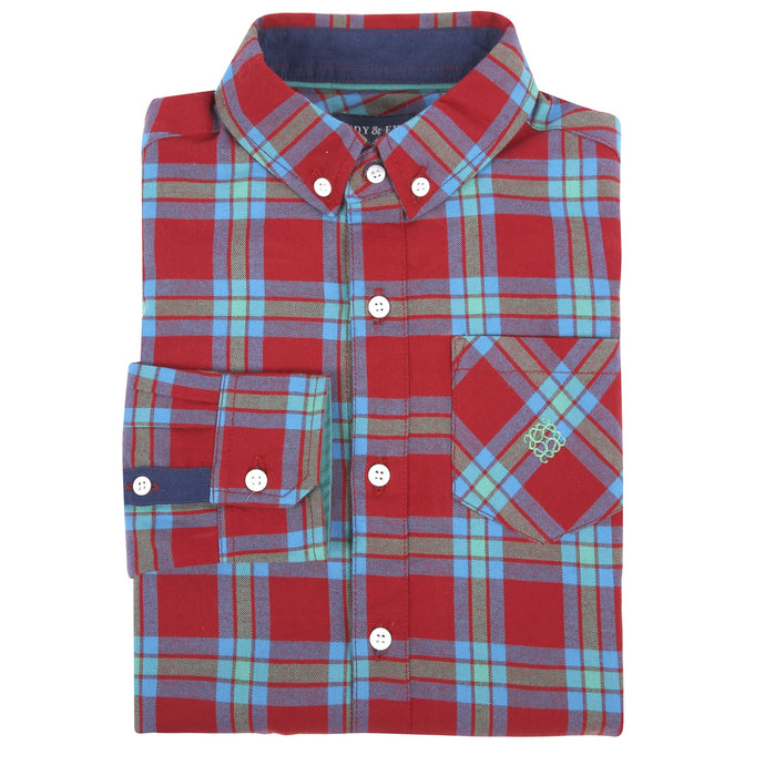 Bright Red Plaid Flannel Shirt - Andy & Evan