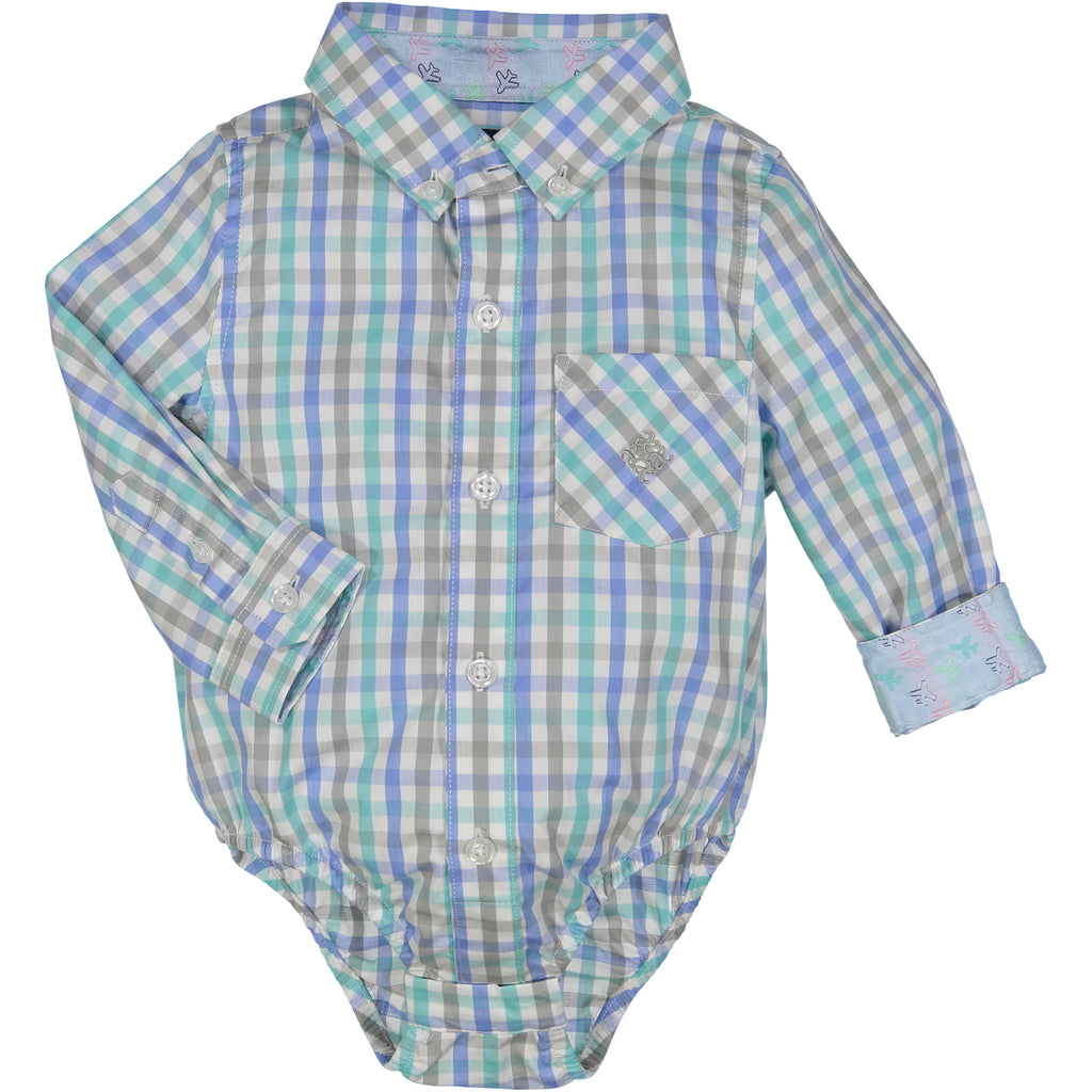 Mint/Blue/Green Small Check Shirt - Andy & Evan