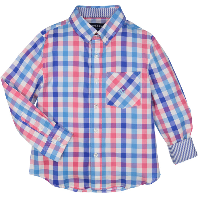 Large Pink/Blue Check Shirt - Andy & Evan