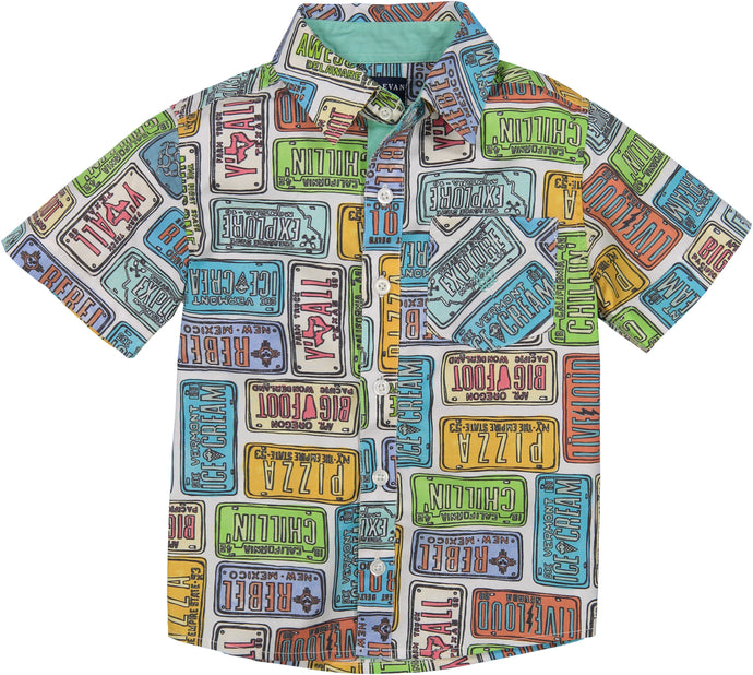 License Plate Printed Shirt - Andy & Evan