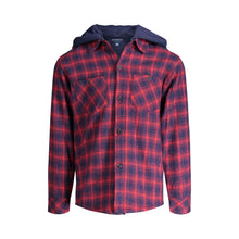 Load image into Gallery viewer, Maroon Hooded Flannel Buttondown - Andy & Evan