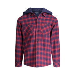 Maroon Hooded Flannel Buttondown