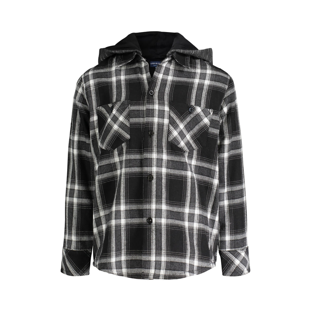 Black Hooded Flannel Buttondown - Andy & Evan