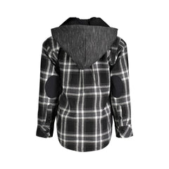 Black Hooded Flannel Buttondown