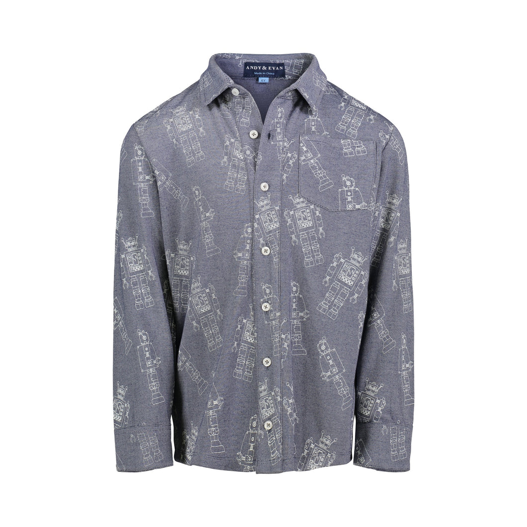 Navy Robot Knit Buttondown - Andy & Evan