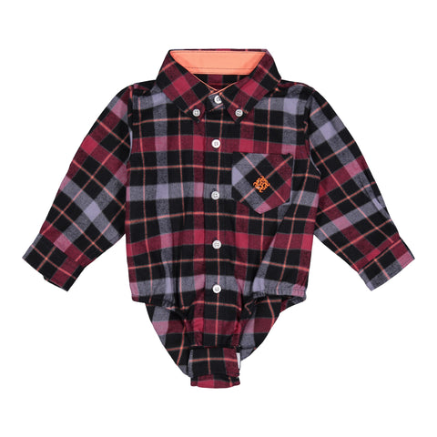 Maroon & Grey Plaid Flannel - Andy & Evan