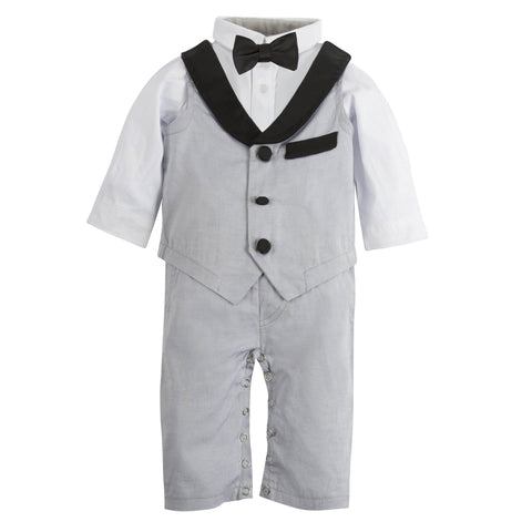 My First Andy & Evan Tuxedo: Grey Oxford Playsuit (with removable bow tie)