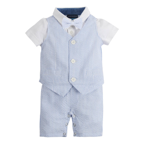 My First Andy & Evan Suit: Light Blue Seersucker Playsuit (with removable bow tie)